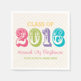 COLORFUL Class of 2016 GRADUATION Disposable Serviette