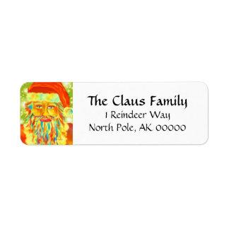 """Colorful Claus"" Santa Return Address Label"