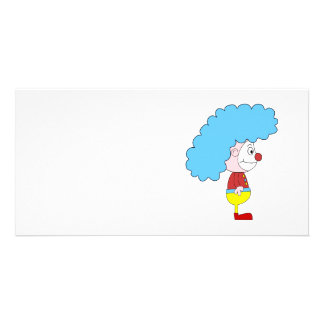 Colorful Clown Cartoon. Blue Hair. Personalized Photo Card