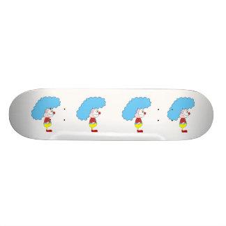 Colorful Clown Cartoon. Blue Hair. Custom Skate Board