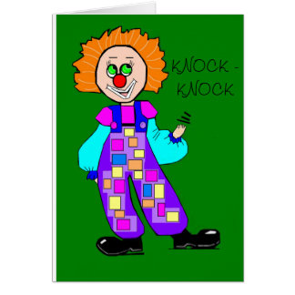 Colorful Clown Knock-knock Birthday Card