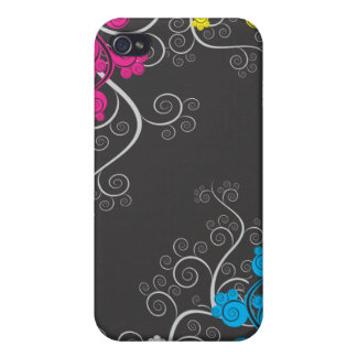 Colorful CMYK Abstract Vines iPhone 4 Cover