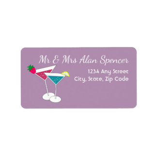 Colorful Cocktails New Year's Address Labels