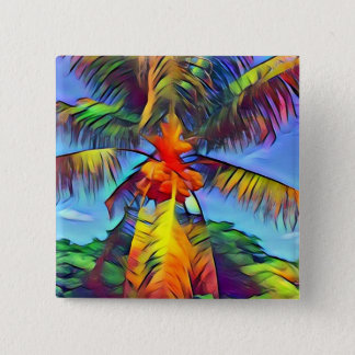 Colorful Coconut Palm Tree Button