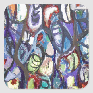 Colorful Cocoons (abstract expressionism) Square Sticker