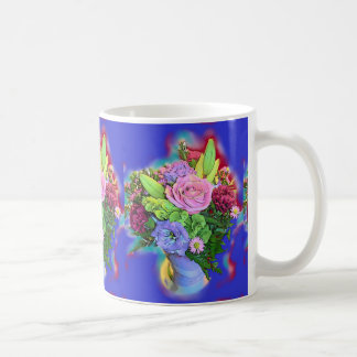 COLORFUL COFFEE MUG FRESH FLOWERS VASE