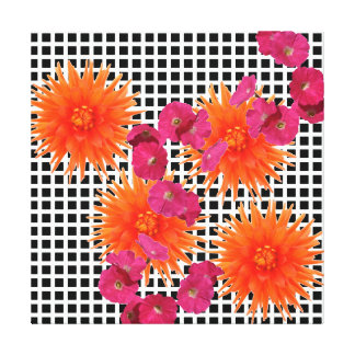 Colorful Collage Black White Orange Pink Flowers Gallery Wrapped Canvas