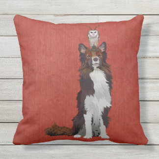 COLORFUL COLLIE & ANTLER OWL CUSHIONS