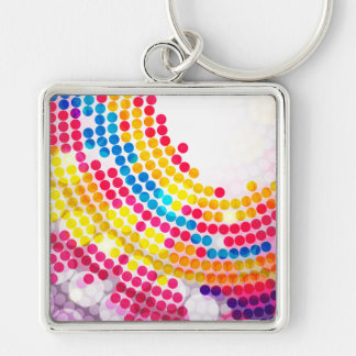Colorful color Circle  Dots Pattern for Girls Silver-Colored Square Key Ring