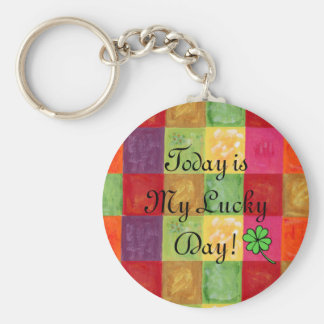 Colorful Color Grid Pattern Basic Round Button Key Ring