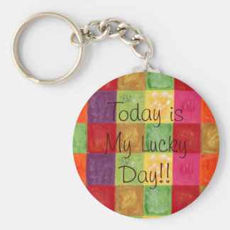 Colorful Color Grid Pattern Key Ring