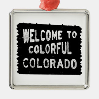 Colorful Colorado black welcome sign ornament