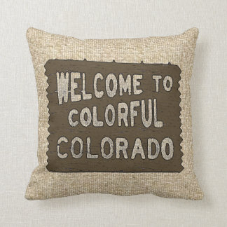 Colorful Colorado welcome sign burlap pillow