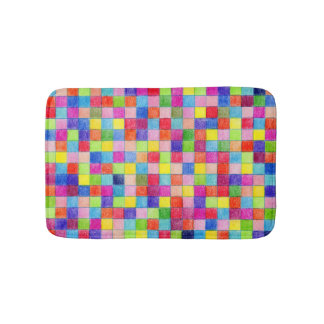 Colorful Colored In Graph Paper Squares Bath Mat