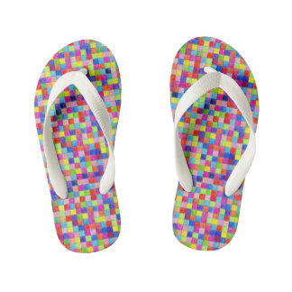 Colorful Colored In Graph Paper Squares Kid's Thongs