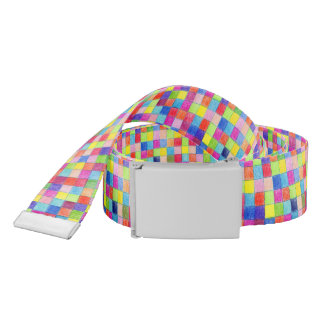 Colorful Colored In Graph Paper Squares Metal Bckl Belt
