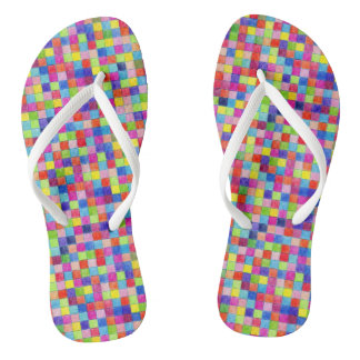 Colorful Colored In Graph Paper Squares Thongs