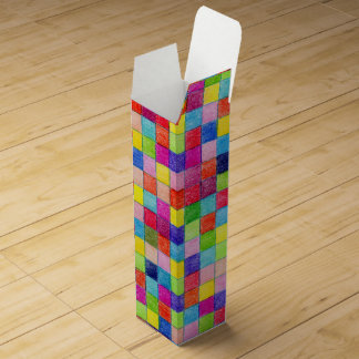 Colorful Colored In Graph Paper Squares Wine Box