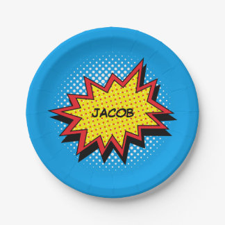 Colorful Comic Book Style Custom Name Paper Plate