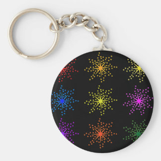 Colorful Comic Explosions Key Ring