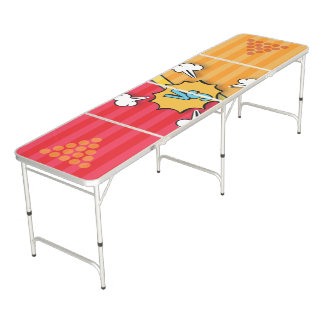 Colorful Comic Versus. Beer Pong Table