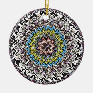 Colorful Concentric Chaos Ceramic Ornament
