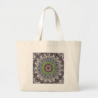 Colorful Concentric Chaos Large Tote Bag