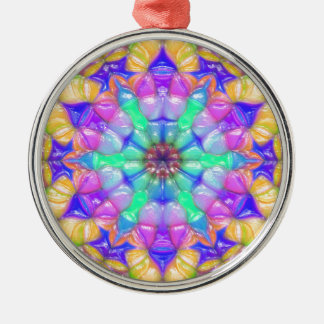 Colorful Concentric Reflections Metal Ornament