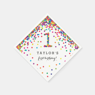 Colorful Confetti 1st Birthday Party Napkins Paper Napkin