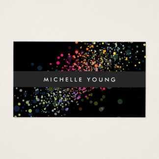 Colorful Confetti Bokeh on Black Modern Business Card
