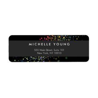 Colorful Confetti Bokeh on Black Modern Return Address Label