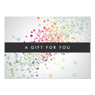 Colorful Confetti Bokeh on Gray Gift Certificate Card
