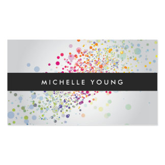 Colorful Confetti Bokeh on Gray Modern Pack Of Standard Business Cards