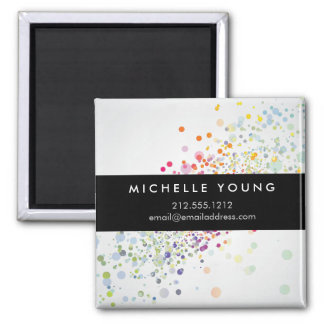 Colorful Confetti Bokeh on Gray Modern Square Magnet