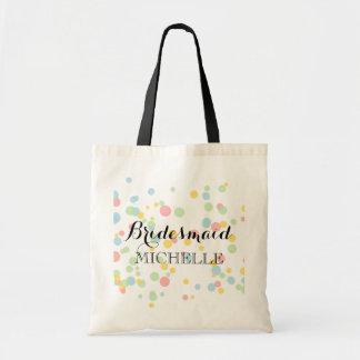 Colorful confetti bridesmaid tote bag for wedding