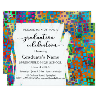 Colorful Confetti & Brushstrokes Graduation Party Card