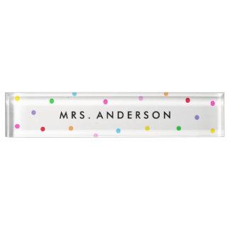 Colorful Confetti Desk Name Plate