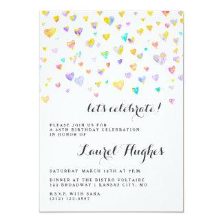 Colorful Confetti Hearts Birthday Party Invitation