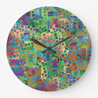 Colorful Confetti, Multicolored Abstract w Squares Large Clock