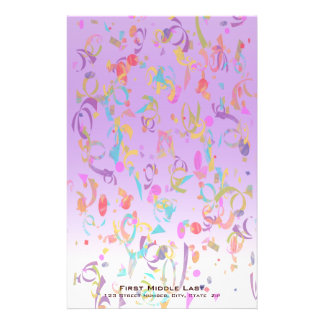 Colorful Confetti Pieces and Violet Gradient Stationery