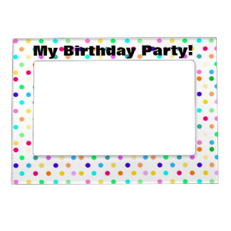 Colorful confetti polka dot magnetic frame