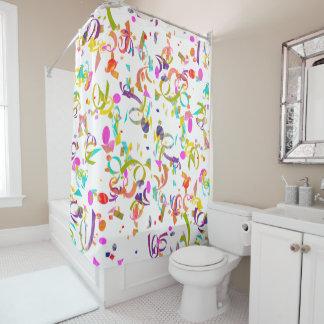 Colorful Confetti Toss Artwork Shower Curtain