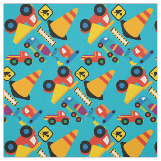 Colorful Construction Vehicles Kids Fabric