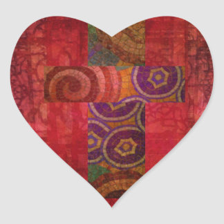 Colorful Contemporary Christian Mosaic Cross Art Heart Sticker