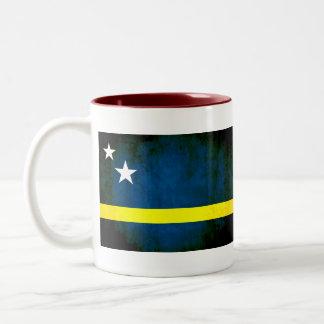 Colorful Contrast Curacaon Flag Two-Tone Coffee Mug