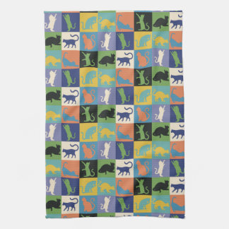 Colorful Cool Cat Silhouettes in Quilt Squares Tea Towel