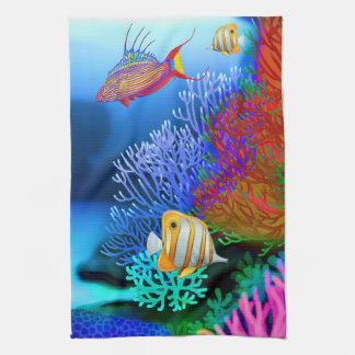 Colorful Coral Reef Fish Kitchen Towels
