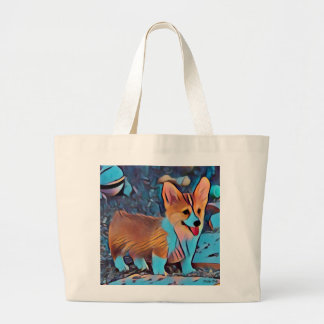 Colorful Corgi Puppy Large Tote Bag