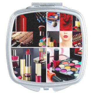 Colorful Cosmetic Collage Compact Mirror