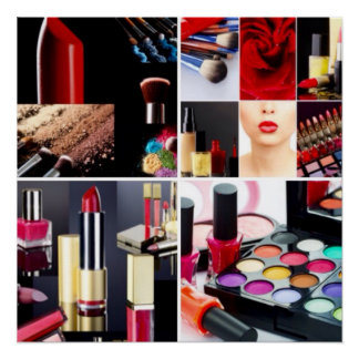 Colorful Cosmetic Collage Poster